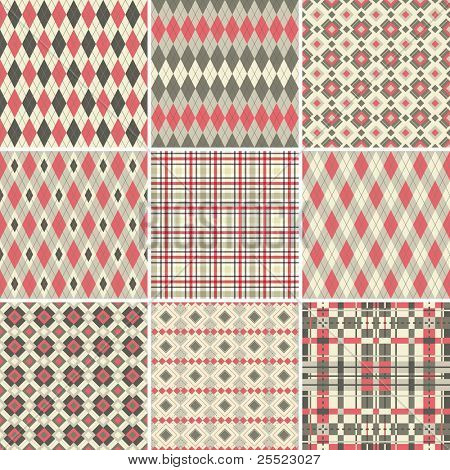 Collection of seamless argyle and plaid patterns in pastel colors