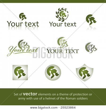 Set of vector elements on a theme of protection or army