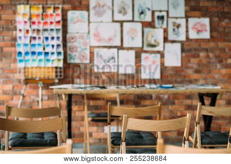 Crafty Room. Artful Studio Workshop. Empty Painting Class Of Art School. Creative Painter Workspace.