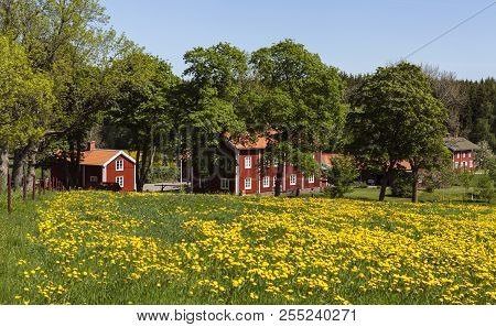 Pershyttan, Sweden On May 19. Outdoor View Of Meadows, Red Buildings On May 19, 2018 In Pershyttan,