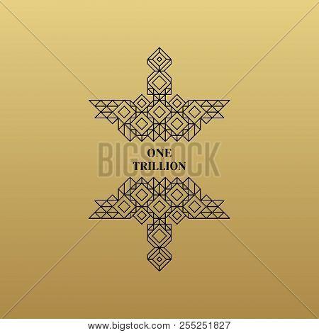 Decorative Design Element In Retro Style. Vector Calligraphic Template. Line Art Design For Invitati