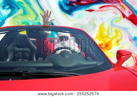 Santa Claus ACID TRIP. Santa Claus drives his Red Hot Rod Car while high as a kite on LSD or MAGIC MUSHROOMS. Santa Claus LSD Trip.
