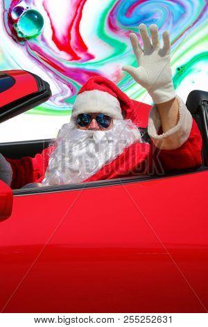 Santa Claus ACID TRIP. Santa Claus drives his Red Hot Rod Car while high as a kite on LSD or MAGIC MUSHROOMS. Santa Claus LSD Trip.
