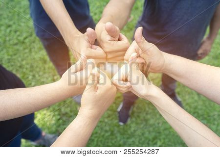 Teamwork Togetherness Collaboration Concept, Group Of People Giving A Thumbs Up Gesture Of Approval