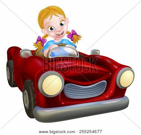 A Cartoon Girl Having Fun Driving A Red Car
