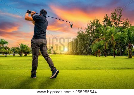 Golfer Putting Golf Ball On The Green Golf, Lens Flare On Sun Set Evening Time, Golfer Hitting Golf