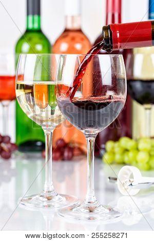 Wine Pouring Glass Bottle Portrait Format Red Pour