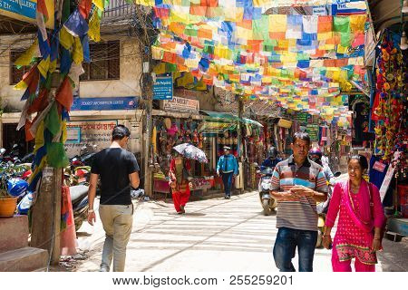 Street View In Thamel District, Known As The Centre Of The Tourist Industry In Kathmandu, Nepal