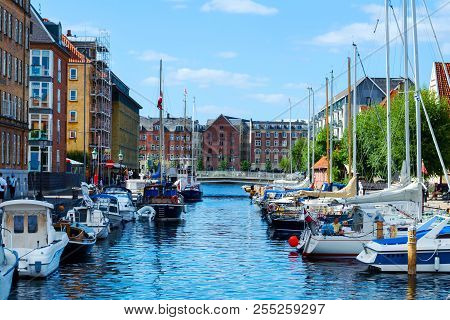 Copenhagen, Denmark - July 9, 2018. Beautiful Yachts And Ships On The Canal. Water Transport. Archit