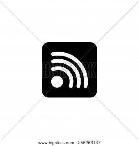 Wireless Internet Wifi, Social Rss. Flat Vector Icon Illustration. Simple Black Symbol On White Back