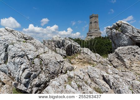Stara Planina (Balkan) Mountain and Monument to Liberty Shipka, Stara Zagora Region, Bulgaria poster