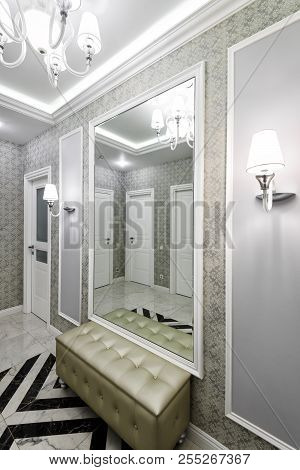Moscow - June 5, 2018: Modern Interior Of Residential Apartment. Hallway With Patterned Wallpaper, L