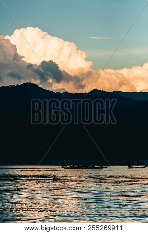 View Of Mountain, River And Sky In Taunggyi, Myanmar