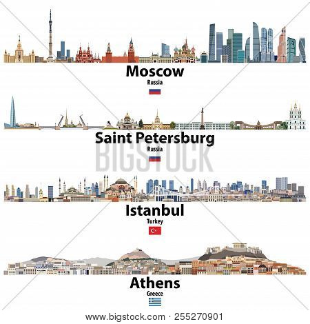 Cityscapes Of Moscow, Saint Petersburg, Istanbul And Athens. Flags Of Russia, Turkey And Greece. Vec