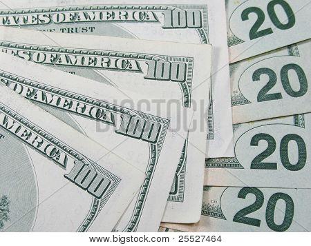 Background of american money - back side of hundreds and twenty dollars