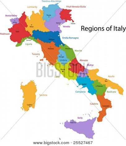 Colorful Italy map with regions and main cities