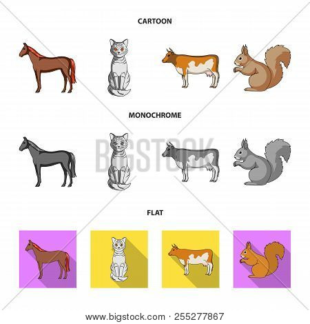 Horse, Cow, Cat, Squirrel And Other Kinds Of Animals.animals Set Collection Icons In Cartoon, Flat,