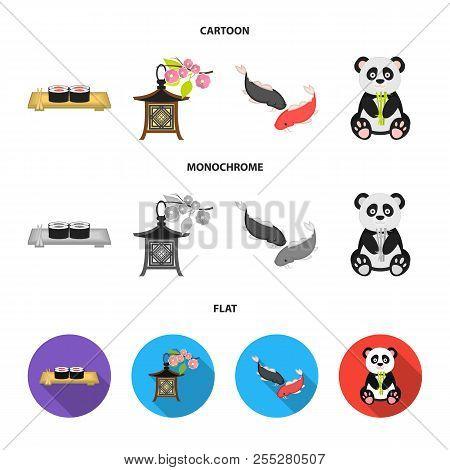 Sushi, Koi Fish, Japanese Lantern, Panda.japan Set Collection Icons In Cartoon, Flat, Monochrome Sty