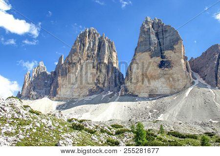 Tre Cime (three Peaks) Di Lavaredo (drei Zinnen) , Are Three Of The Most Famous Peaks Of The Dolomit