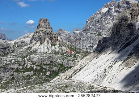 Along The Walk Tre Cime Di Laveredo Trail, Three Of The Most Famous Peaks Of The Dolomites, In The S