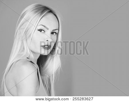Beauty And Fashion, Pretty Blonde Or Adorable Girl With Cute Face, With Young Skin, Stylish Makeup,