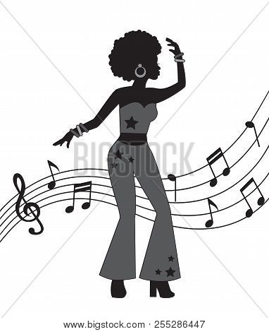 Black Silhouette Of Woman In Disco Style. A Woman Dances And Is Dressed In Flared Trousers And Has C