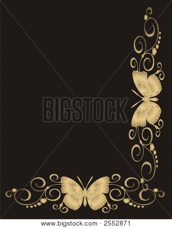 Abstract Gold Butterfly - Vector