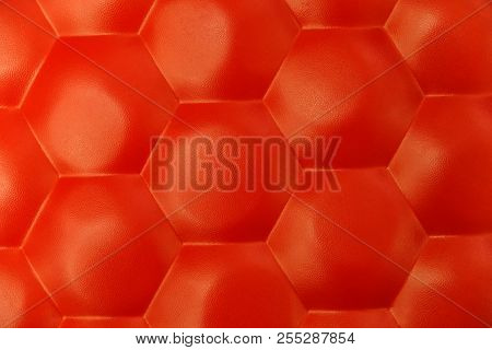 Red Leather Texture Decorate Background.chair Seat Close
