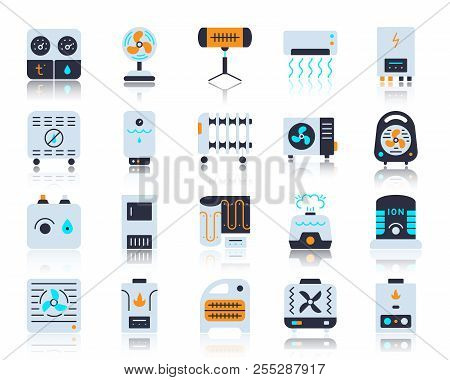 Hvac Flat Icons Set. Vector Sign Kit Of Climatic Equipment. Fan Pictogram Collection Includes Steam