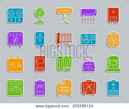 Hvac Silhouette Sticker Icons Set. Sign Kit Of Climatic Equipment. Fan Pictogram Collection Includes