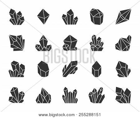 Crystal Silhouette Icons Set. Sign Kit Of Gemstone. Mineral Pictogram Collection Includes Emerald, S