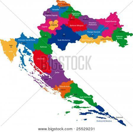 Map of administrative divisions of Republic of Croatia