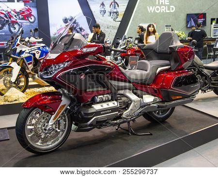 Bangkok, Thailand - August 22, 2018: Honda Gold Wing Tour Touring Motorcycle Presented In Big Motor