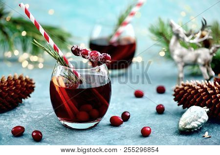 Christmas Punch On A Winter Table, Front View, Festive Warming Alcohol Concept