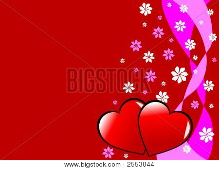 Valentines Hearts And Flowers Background