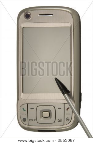 Modern mobile phone with stylus isolated on white. poster