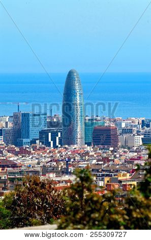 Barcelona, Spain - March 30, 2015: Torre Glories (initial Name Torre Agbar, Till 2017). This Modern