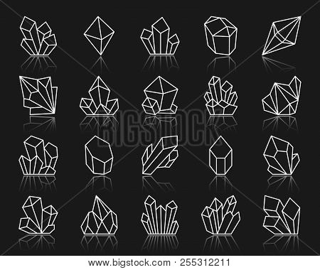 Diamond Crystal Thin Line Icon Set. Outline Sign Kit Of Gem. Mineral Linear Icons Includes Amethyst