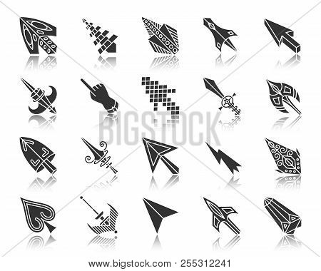 Mouse Cursor Silhouette Icons Set. Monochrome Web Sign Kit Of Arrow. Click Pictogram Collection Incl