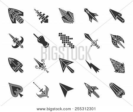 Mouse Cursor Glyph Style Icons Set. Sign Kit Of Arrow. Click Pictogram Collection Includes Pointer,