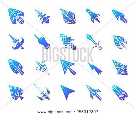 Mouse Cursor Silhouette Icons Set. Isolated On White Sign Kit Of Arrow. Click Pictogram Collection I