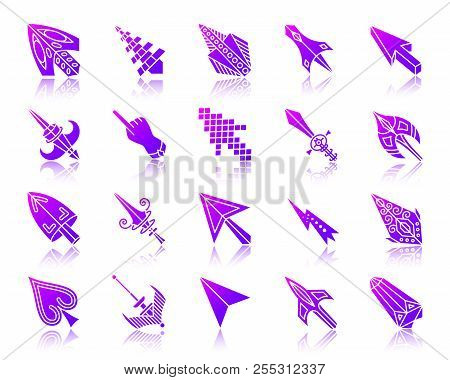 Mouse Cursor Silhouette Icons Set With Reflection. Violet Sign Kit Of Arrow. Click Vector Pictogram