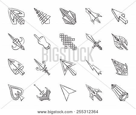 Mouse Cursor Charcoal Icons Set. Grunge Outline Sign Kit Of Arrow. Click Linear Icon Collection Incl