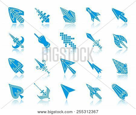 Mouse Cursor Silhouette Icons Set. Sign Kit Of Arrow. Pc Click Blue Pictogram Collection Includes Po