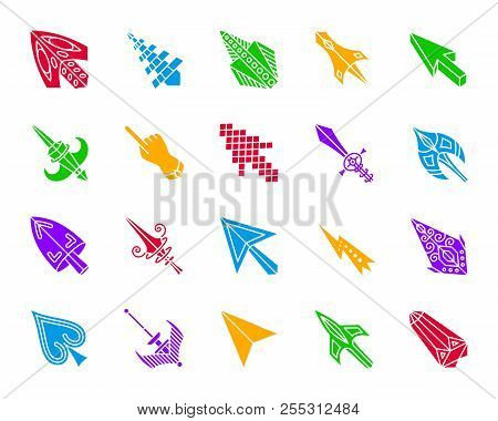 Mouse Cursor Silhouette Icons Set. Isolated Web Sign Kit Of Arrow. Click Pictogram Collection Includ