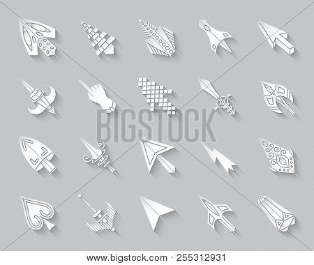 Mouse Cursor Paper Cut Art Icons Set. 3d Sign Kit Of Arrow. Click Pictogram Collection Includes Poin