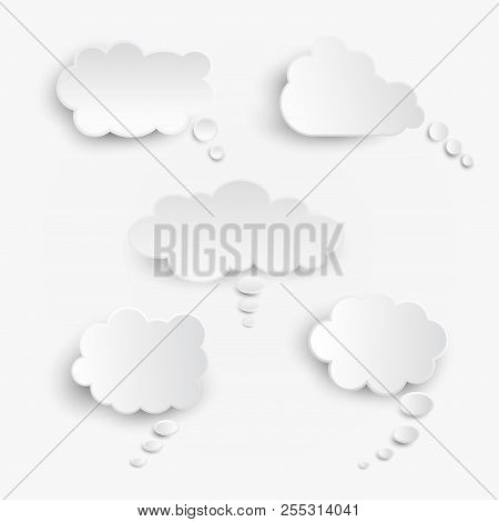 White Blank Speech Bubbles Isolated Vector Set. Infographic Design Thought Bubble On The Light Gray