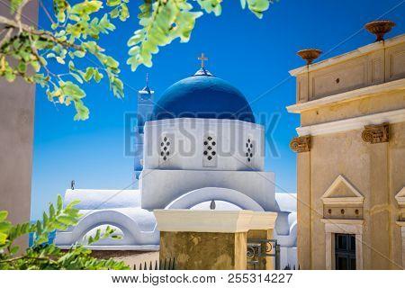 Church in the center of the Greek village  Emporio at Santorini island, Greece.