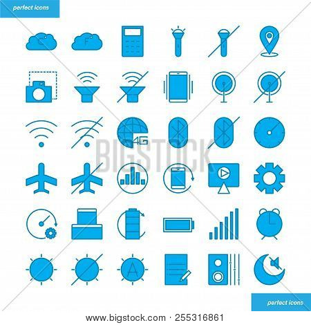 Mobile Function Color Line Icons Perfect Pixel. Use For Website, Template,package, Platform. Concept