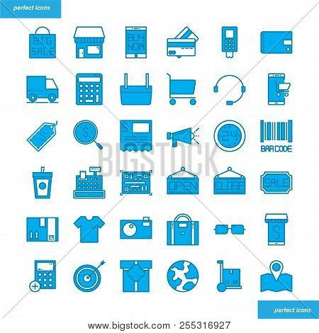 Shopping And Ecommerce Color Line Icons Perfect Pixel. Use For Website, Template,package, Platform.